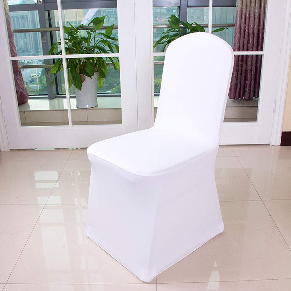YJYdada 1pcs White Flat Arched Front Covers Spandex Lycra Chair Cover Wedding Party (A)