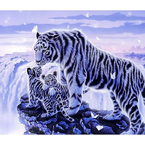 Fipart DIY diamond painting cross stitch craft kit. Wall stickers for living room decoration.tiger(16X12inch/40X30CM) (Tiger Stickers)