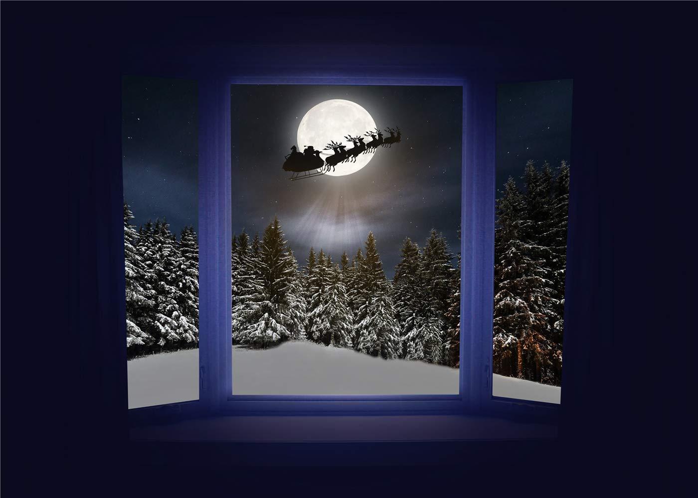 Christmas Backdrop Pine Tree Winter Snow Scene windowsill Outside The Window Fairy Tale Santa Claus Reindeer Moon Background