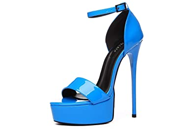 4b992135152c Giaro Sandaletten in Übergrößen Blau Galana 1002 Blue Shiny große  Damenschuhe