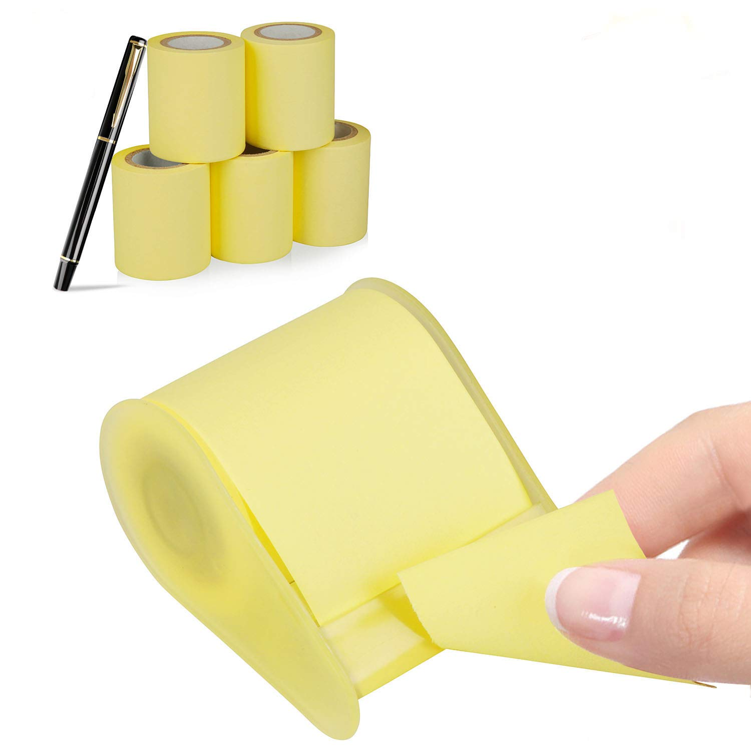 Super Sticky Notes, Full Adhesive Roll Sticky Notes, Dispenser for Different Size, 3 x 315 in, 6 Roll+Pen/Pack Yellow by Hodekt