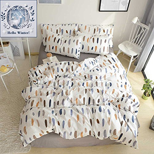 BuLuTu Feather Teen Girls Bedding Duvet Cover Set Queen White Cotton Premium Lightweight 3 Pieces Kids Boys Bedding Sets Full Zipper Closure With Ties (No Comforter) - Full Queen Quilt Bedding