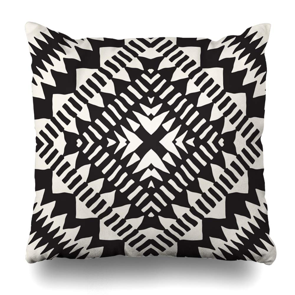 Ahawoso 売り込み クッションカバー 正方形 18 x 18インチ インディアン アフリカ ブラック ホワイト アメリカン 部族 ホームデコレーション メキシコ 抽象的な模様 スケッチ B07R96M37Z ビンテージ 大放出セール 枕カバー