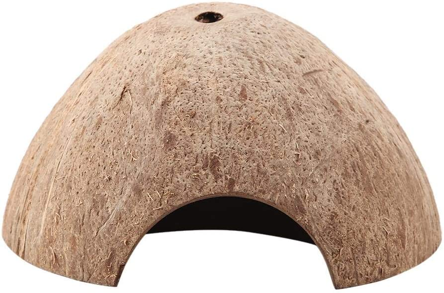 HEEPDD Reptile Hide Cave, Natural Coconut Shell Small Animal Cave House Aquarium Hide House Decor for Turtle Lizard Snake Spider Bearded Dragon Gecko