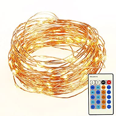 Homdox Dimmable Led String Light, 100 LEDs Twinkle Light 33ft Flexible Copper Wire Rope Lights with Remote Control for Christmas Party Bedroom Patio Decoration (Waterproof, Warm White)