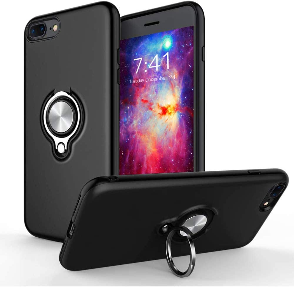 iPhone 7 Plus Case, iPhone 8 Plus Case,iCaber 360 Degree Rotating Ring Holder Grip Case Dual Layer Protective Cover Compatible for iPhone 7/8 Plus (Black)