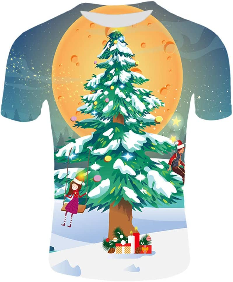 Htekgme Camiseta 3D para Hombre Camisetas Estampadas de Anime de Navidad Camisetas extragrandes de Manga Corta Casual Camisetas de Navidad de Santa Claus y Elk Streetwear: Amazon.es: Deportes y aire libre