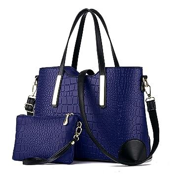 EssVita 2 Piezas PU de cuero Mujer Moda Bolsos de Mano Cuero Bolsa y Carteras Bandolera Tote Bag Monedero Conjunto Azul + Negro: Amazon.es: Equipaje