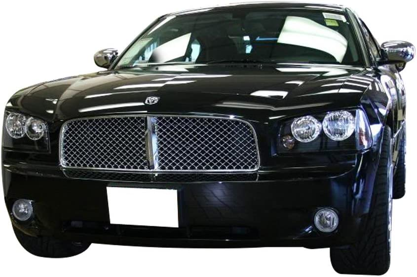 2006 2007 2008 2009 Chrome Mesh Style ABS Chrome Front Bumper Hood Grill by IKON MOTORSPORTS Grille Compatible With 2006-2010 DODGE CHARGER