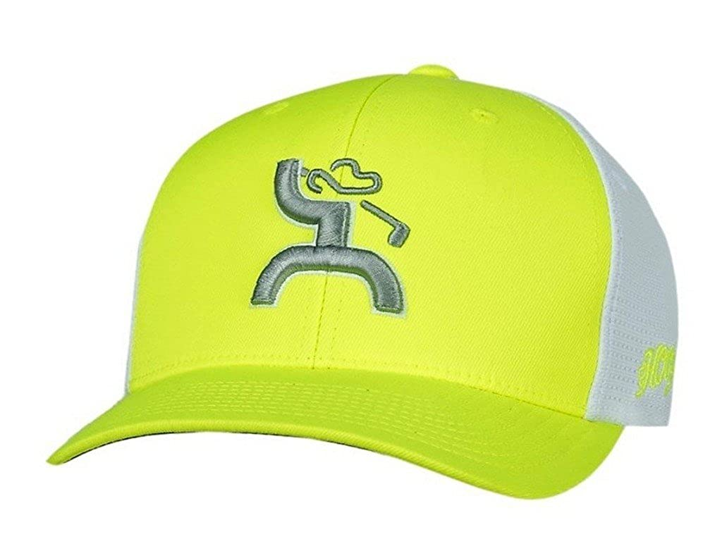 5da8a6dbf5937 Hooey Hat  Trap  Golf Hat-Neon Green White FlexFit at Amazon Men s Clothing  store