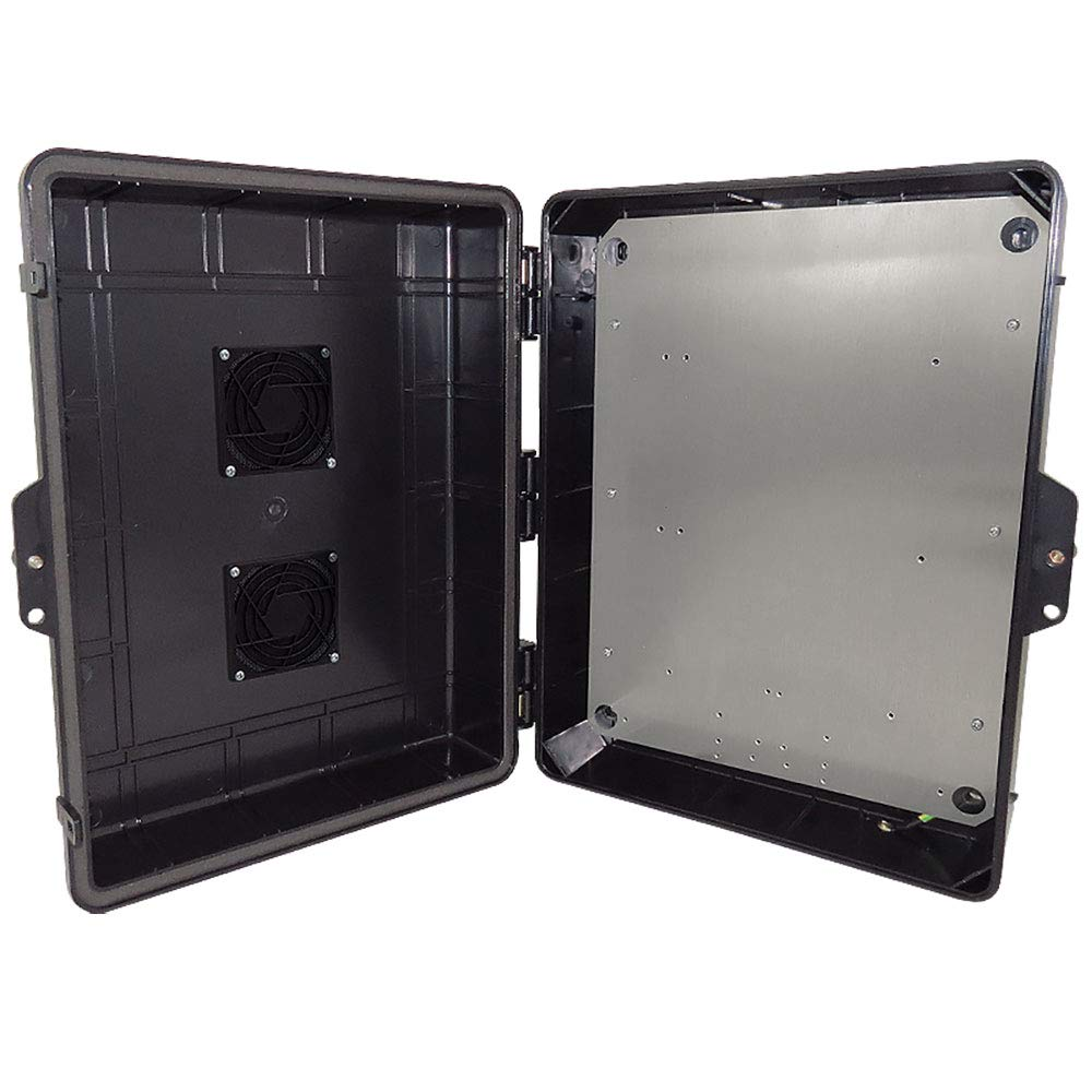 Altelix Vented Stealth Black NEMA Enclosure 17x14x6 (14'' x 9'' x 4.1'' Inside Space) Polycarbonate + ABS Tamper Resistant Weatherproof with Aluminum Equipment Mounting Plate