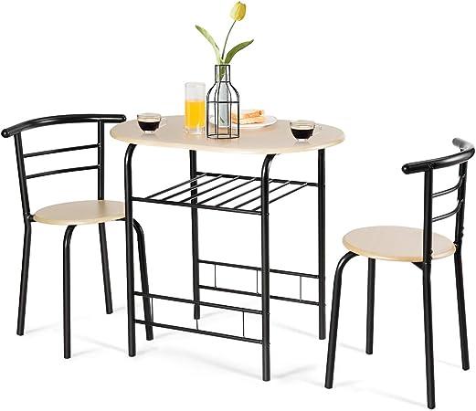 Goplus - Juego de mesa y sillas de comedor, juego de 1 mesa y 2 taburetes de MDF compactos para 2 personas: Amazon.es: Hogar
