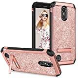 GUAGUA LG K20 Plus/LG K20 V/LG Harmony/LG K10 2017/LG LV5 Case Kickstand Girls Women Bling Slim Hybrid Shockproof Protective Phone Case for LG K20 Plus/LG K20 V/LG Harmony/LG LV5/LG K10/K20 Rose Gold