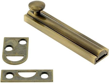 "6/"" Flat Bolt Antique Brass Surface Slide Lock Barrel,sliding Metal Door Bolt."