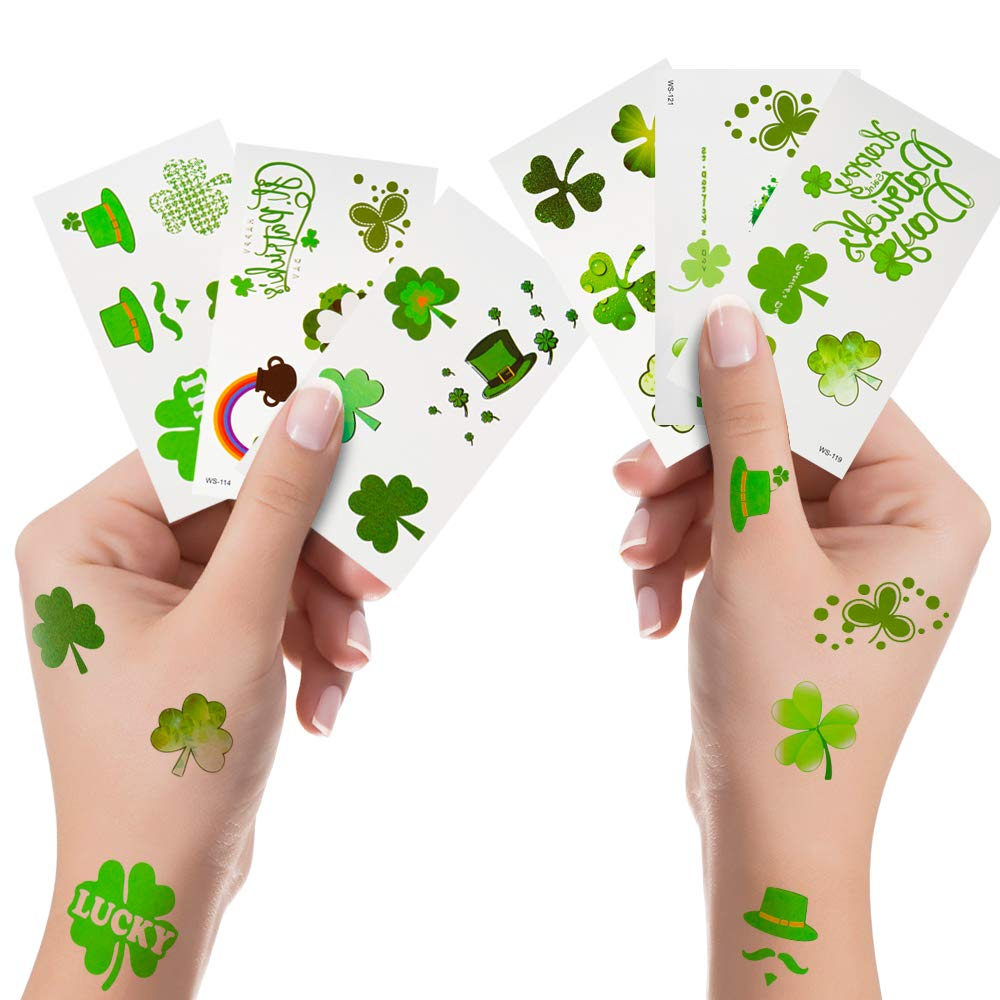 St. Patrick's Day Tattoos Shamrock Clover Stickers Irish Temporary Tattoos for St Patricks Day Accessories Party Favors Decorations 6 Pack