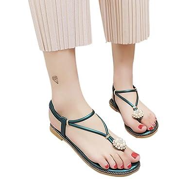 Honestyi ??Frauen Bohemian Pearl Sandalen Sommermode Diamant Sandalen Flache Sandalen Schuhe Transparente Starke...