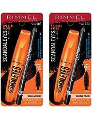 Rimmel scandaleyes mascara with scandaleyes waterproof kohl kajal liner, extreme black, pack of 2, 0.40 Fl Oz