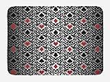 Lunarable Poker Tournament Bath Mat, Card Symbols Hearts Spade Ornament Victorian Floral Swirls Pattern, Plush Bathroom Decor Mat with Non Slip Backing, 29.5 W X 17.5 W Inches, Silver Black Red