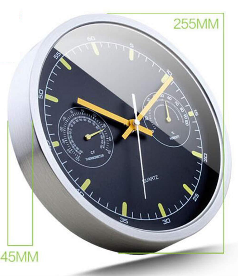 PsgWXL Reloj De Pared con Termómetro E Higrómetro Reloj De Pared De Metal Mudo De Acero Inoxidable Habitación Dormitorio Sala De Estar Creativa Simple: ...