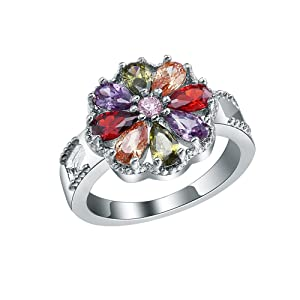 Colorful Crystal Flower CZ Cublic Zircon Band Finger Ring Sterling Silver Wedding Bridal US Size 6,7,8,9