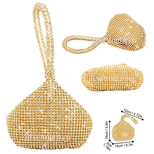 Wedding bride Pouch Silver Prom Crystal Purse Soft Wocharm Mini Evening Body bling Clutch Diamante Party women Gold girl Engagement Cocktail Gold Bag Bridesmaid gYqwOHqA