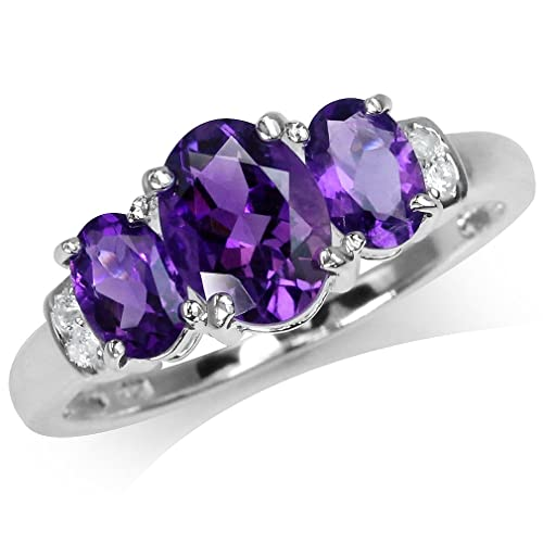 Silvershake 1.97ct. 3 Stones Natural Oval Shape African Amethyst and White Topaz 925 Sterling Silver Ring