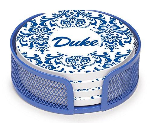 Devils Coaster Set (Thirstystone VDUKE3-HA27 Stoneware Drink Coaster Set with Holder, Duke University Swirls)