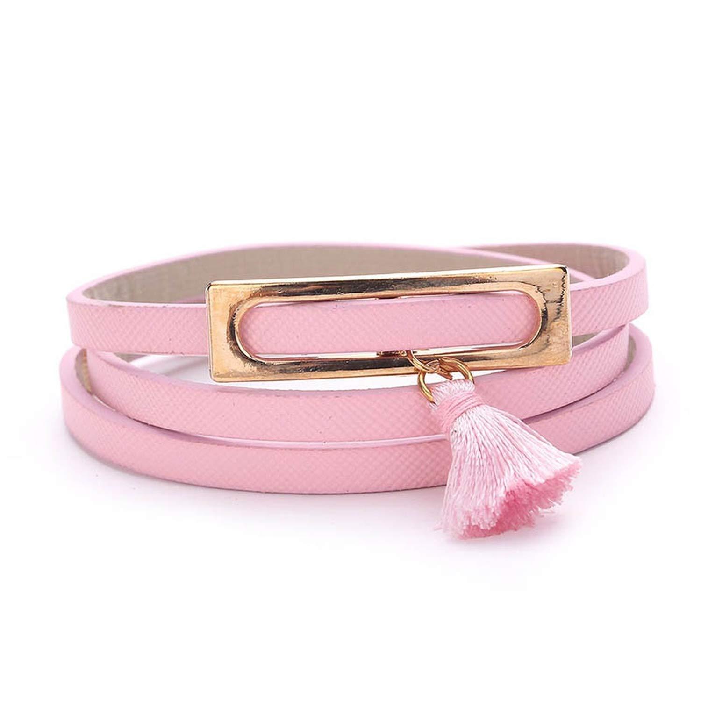 Tea language 7 Colors Leather Wrap Long Bracelet Women Bangles Fashion Sporty Chain Link Female Charm Bracelet