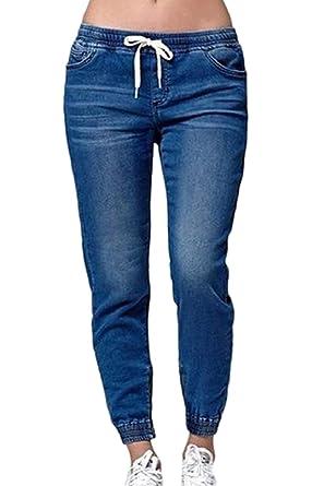 yulinge Las Mujeres Jeans Cintura Elastica Loose Denim ...