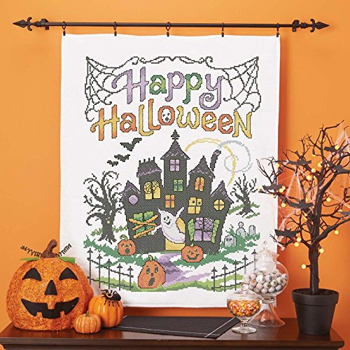 Herrschners® Happy Halloween Lap Quilt Top Stamped Cross-Stitch Kit