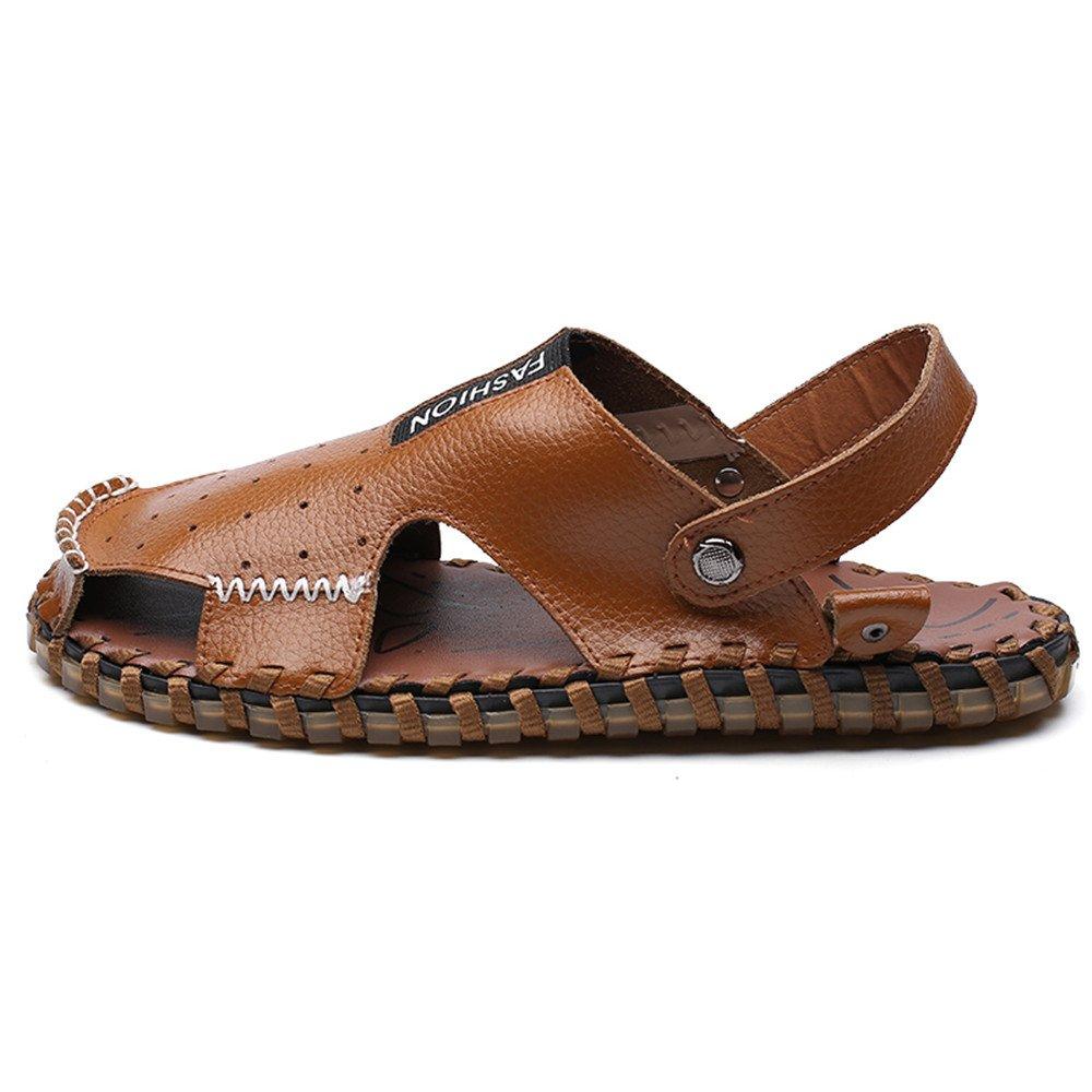 Zapatillas de Hombre de Cuero Genuino Zapatillas de Playa Transpirable Perforación Sandalias Casuales Antideslizante Suave Plano Ajustable sin Respaldo 8.5MUS Marrón