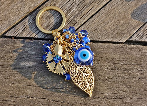 Multicolor Evil Eye and Crystal Beaded Carnatian and Filigree Leaf Keychain ()