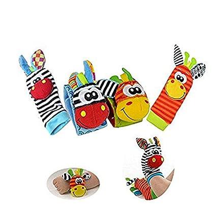 Youkara 1 Set La muñeca del animal de Muñequera y Calcetines del Bebé toca el Juguete Recién Nacido del Bebé con Cascabeles Pequeños
