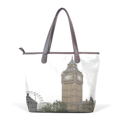 5701aa384dd752 Amazon.com  TJDY Store Big Ben PU Leather Handbags Tote Bag Zip Bag  Shopping Bag for Woman s  Shoes