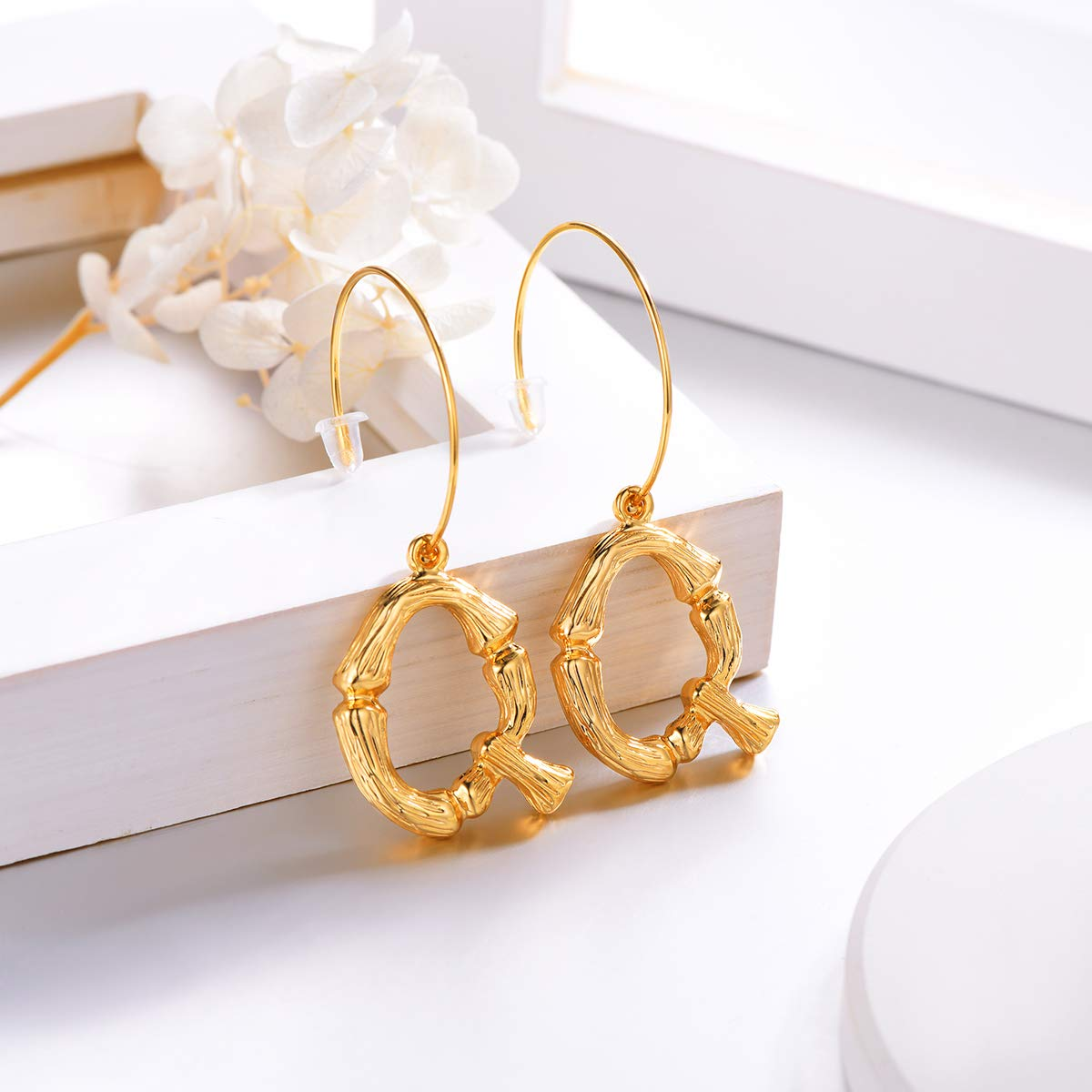 FOCALOOK Letter Earrings Semi-Hoop Drop Dangle Capital Alphabet Small Charms Fashion Jewelry Open Half Circle Round Wire 18K Gold Plated Metal Alloy Bamboo Initial Earrings for Women Girls