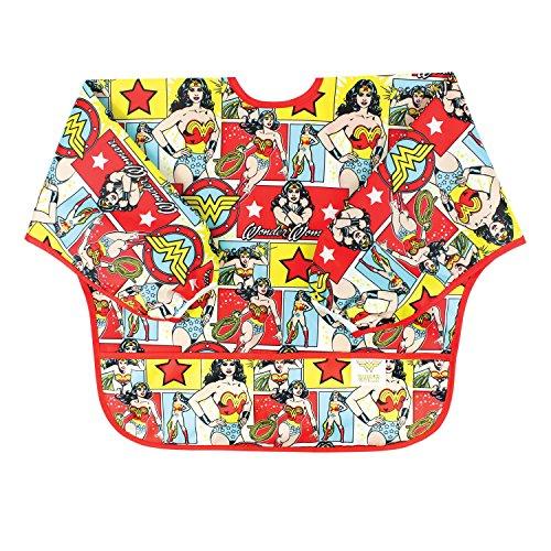Bumkins DC Comics Waterproof Sleeved Bib, Wonder Woman Comic (6-24 Months)