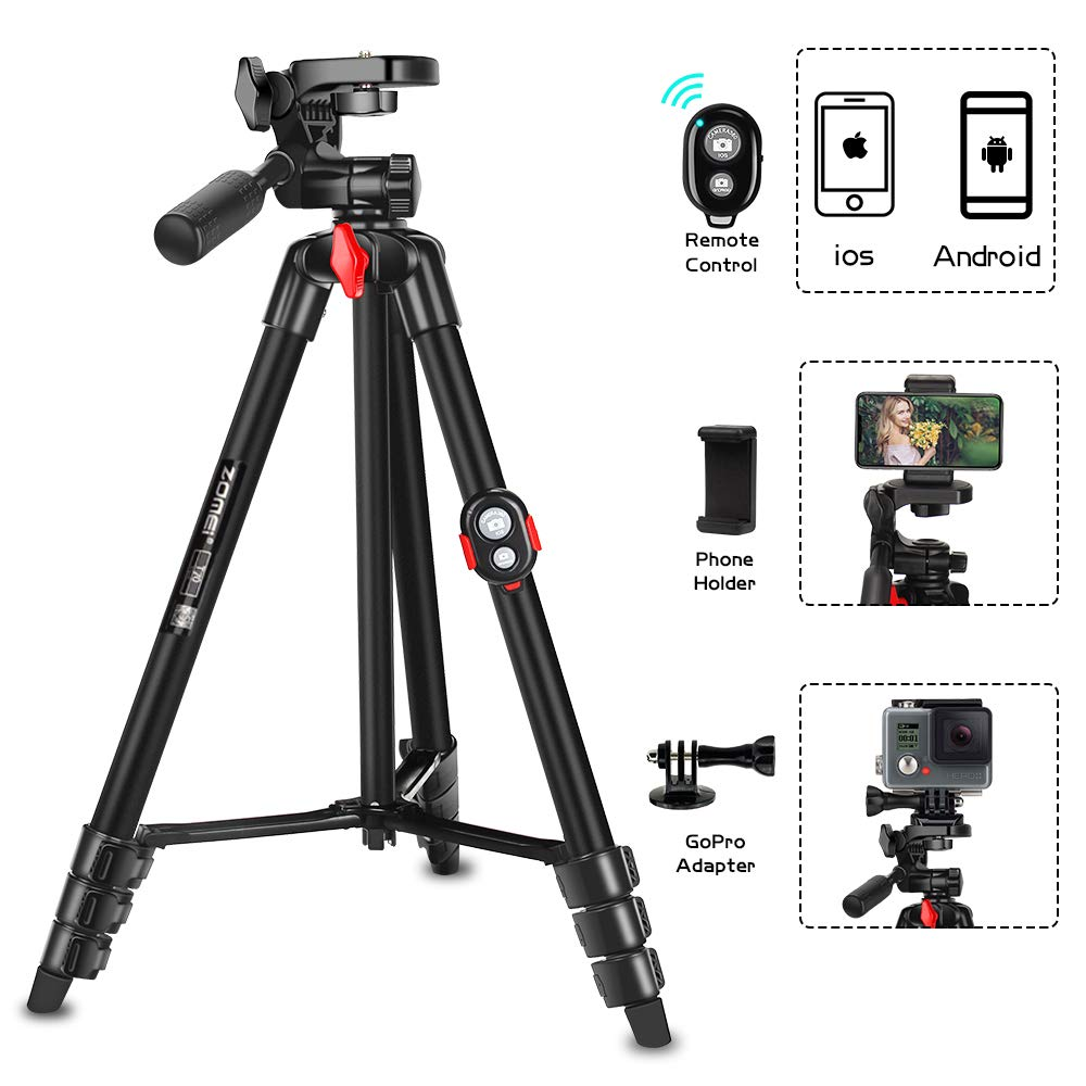 Phone Tripod, ZOMEi 54.3 Inch Cellpone Tripod Lightweight Portable Travel Tripod with Phone Holder and Bluetooth Remote for Smartphone Gopro and Light Camera