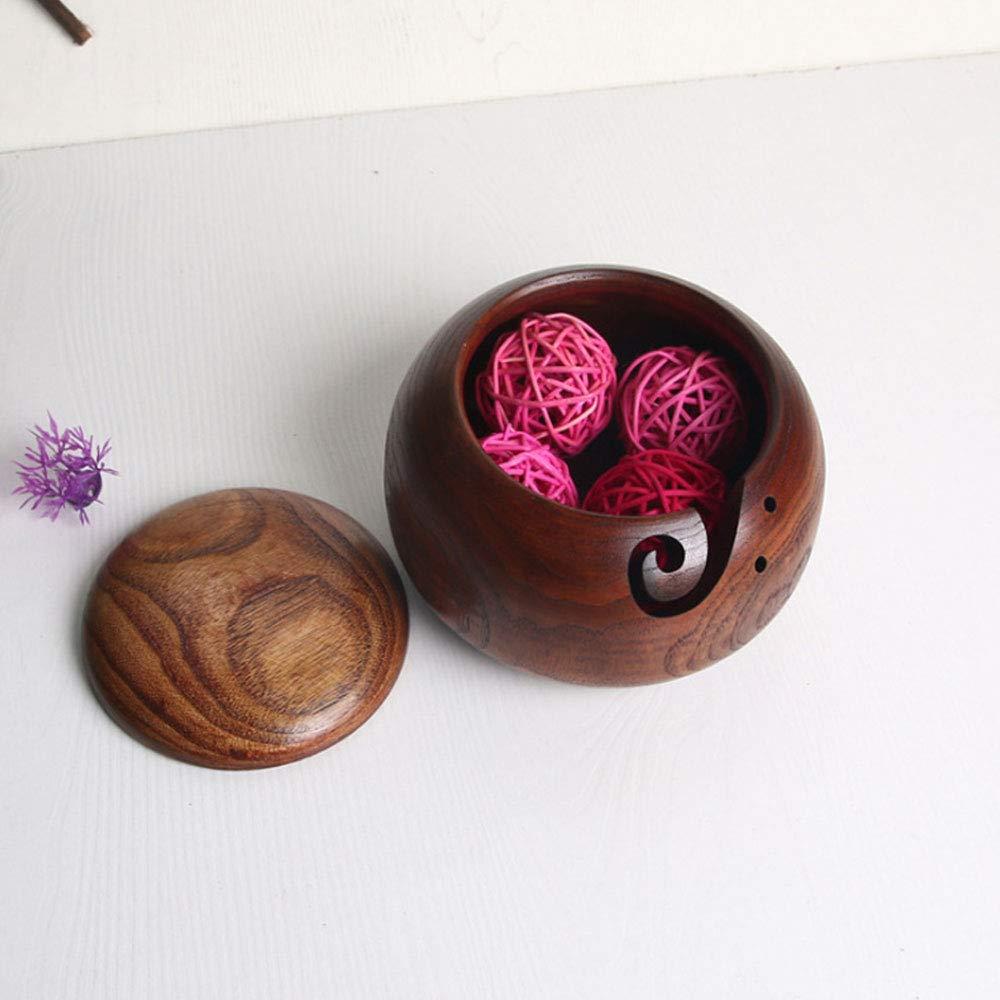 6.3 x 2.7 pulgadas con tapa extra/íble para tejer y ganchillo Kgjsdf Cuenco de madera para hilos hecho a mano regalo de Navidad