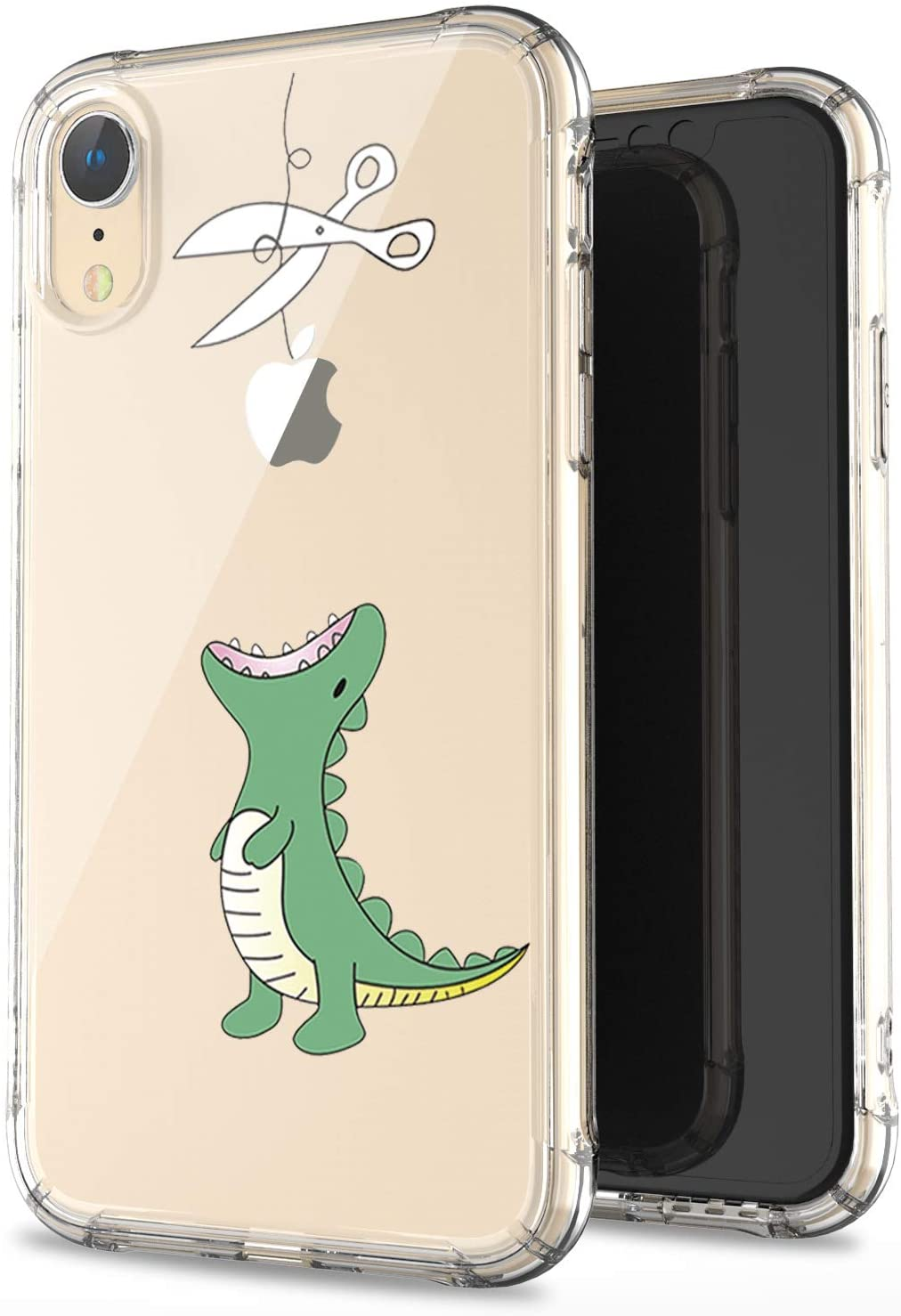 JAHOLAN Compatible iPhone XR Case Clear Cute Amusing Whimsical Design Green Hungry Dinosaur Flexible Bumper TPU Soft Rubber Silicone Cover Phone Case for iPhone XR 2018 6.1 inch