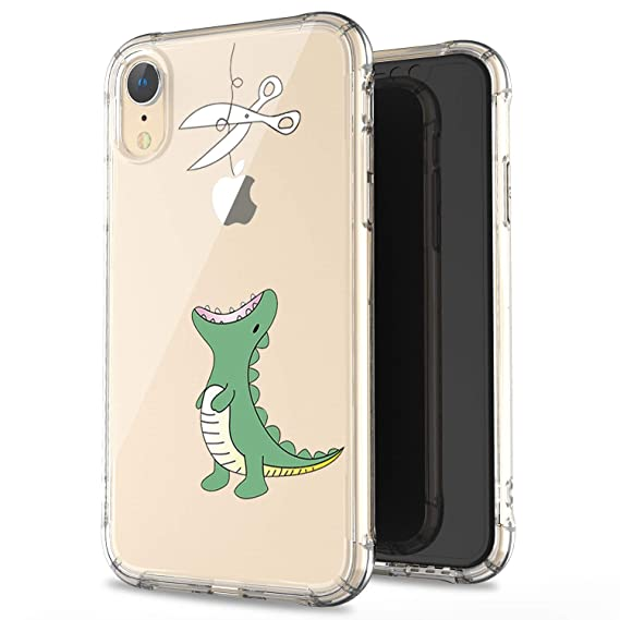 fa11358b69fe7 JAHOLAN Compatible iPhone XR Case Clear Cute Amusing Whimsical Design Green  Hungry Dinosaur Flexible Bumper TPU Soft Rubber Silicone Cover Phone Case  ...