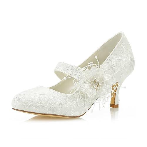 6b4dc70080a2 Mrs Right 586449B Women s Bridal Shoes Closed Toe Stiletto Heel Lace Satin  Pumps Satin Flower Imitation
