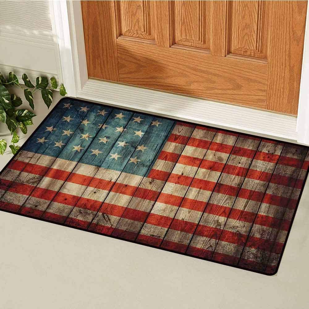 RelaxBear Rustic American USA Flag Front Door mat Carpet Fourth of July Independence Day Painted Old Wooden Looking Background Patriotism Machine Washable Door mat W15.7 x L23.6 Inch