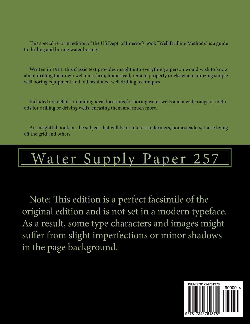 Water Well Drilling Methods: Water Supply Paper 257: US Dept  of