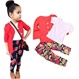 Franterd Baby Girls Clothes Set, Long Sleeve T-Shirt Tops+Coat+Pants Outfits