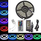 16.4ft 5M Waterproof Flexible Color Changing RGB SMD5050 300 LEDs Light Strip Kit with 44 Key Remote and 12V 5A Power Supply