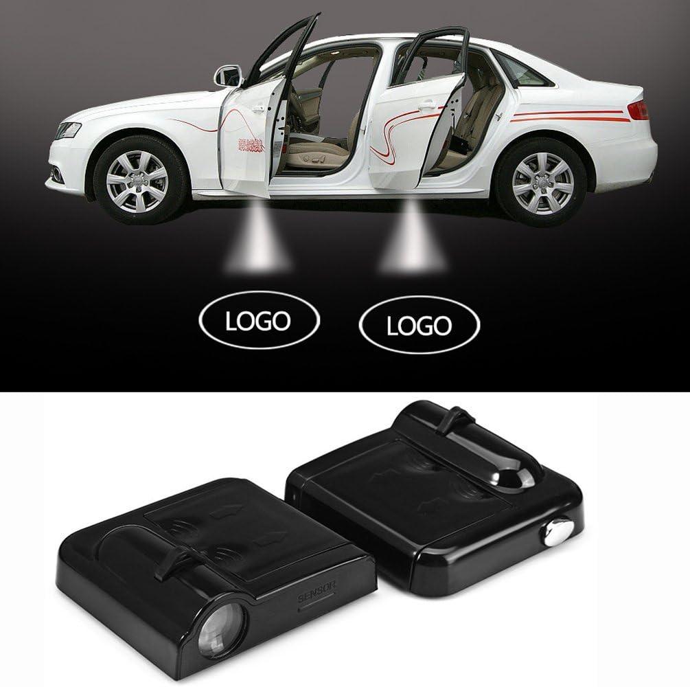 Iluminaci/ón interior automotriz 2 PC LED Puerta del coche Logotipo de bienvenida ligera de la sombra del coche Marca 3D for Skoda