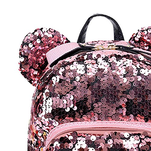 Prosperveil Teenage Women Bags Backpacks Shining Travel Mini Sequins Girls Party School Pink 7IrU7wq