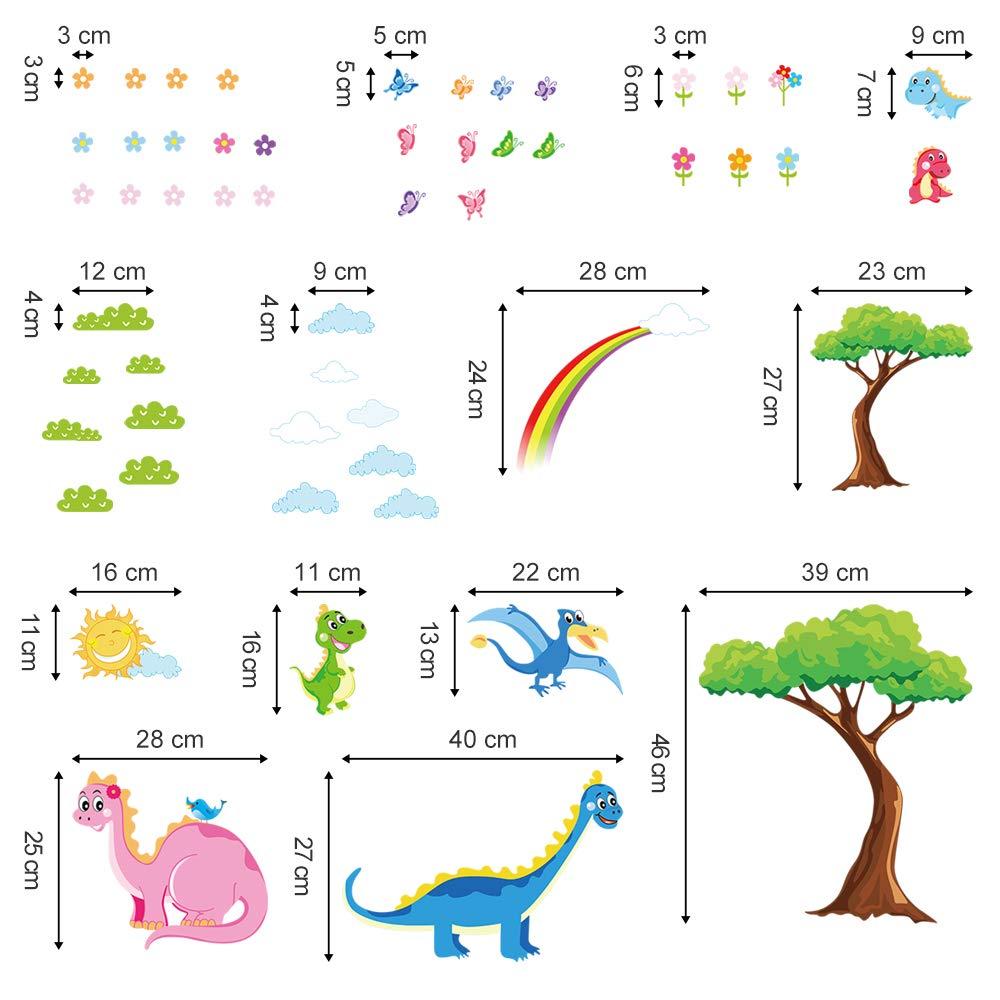ufengke Dinosaurs Wall Stickers Tree Flowers Wall Art Decals Wall Decor for Kids Bedrooms Nursery