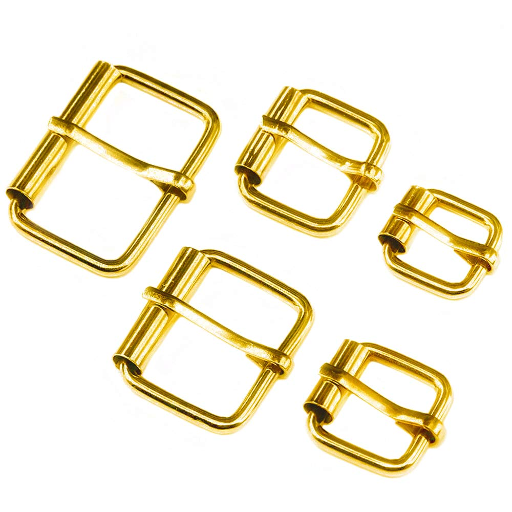 Swpeet 50 Pcs Bronze Assorted Multi-Purpose Metal Roller Buckles for Belts Hardware Bags Ring Hand DIY Accessories - 1/2 Inch, 5/8 Inch, 3/4 Inch, 1 Inch, 1-1/4 Inch (Rolling-Gold-50)