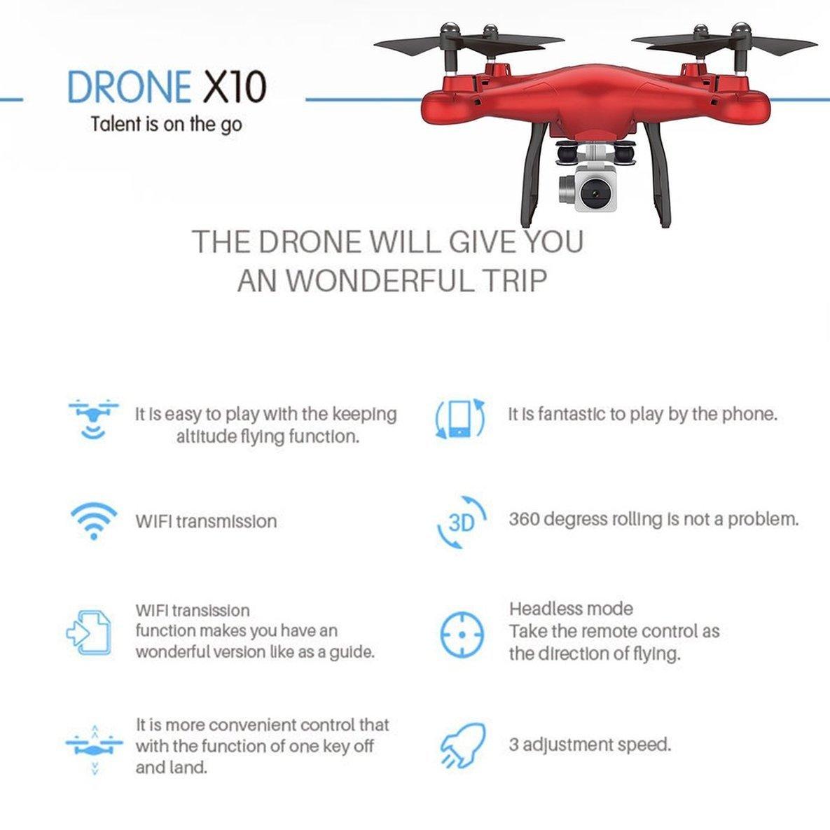 X10 2.4Ghz Cámara Quadcopter WiFi FPV Modo sin Cabeza One Key ...